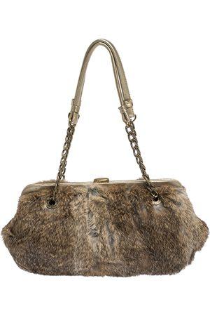 Michael Kors MICHAEL Light Brown Fox Fur and Leather Frame Chain Shoulder Bag