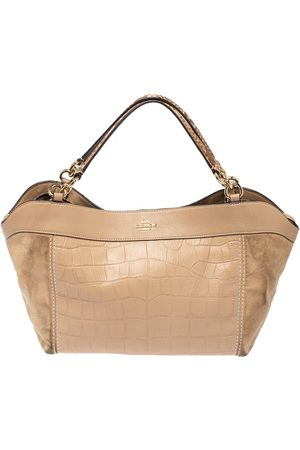 Coach Beige Suede, Croc and Python Embossed Leather Small Lexy Shoulder Bag
