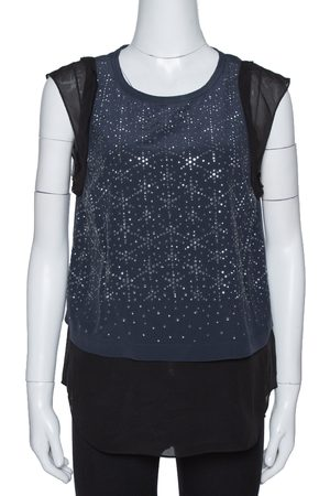 REBECCA TAYLOR Navy Blue Silk Crystal Studded Sleeveless Top M