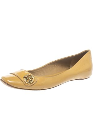 Tory Burch Beige Patent Leather Ballet Flats Size 38