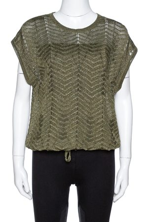 M Missoni Green Lurex Knit Hem Tie Detail Sleeveless Top S