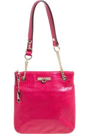 DKNY Magenta Pebbled Leather Zip Chain Shoulder Bag