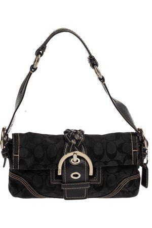 Coach Black Canvas and Leather Signature Buckle Shoulder Bag
