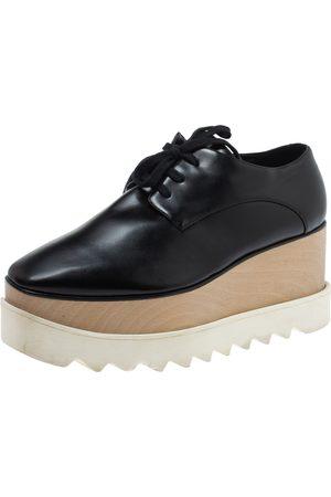 Stella McCartney Black Faux Patent Leather Elyse Platform Derby Size 37