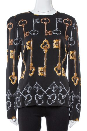 Dolce & Gabbana Black Key Print Silk Long Sleeve Blouse L