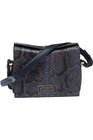 LANCEL Blue Python Pia Shoulder Bag