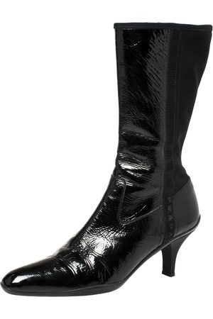 Prada Black Patent Leather And Fabric Mid-Length Boots Size 39.5