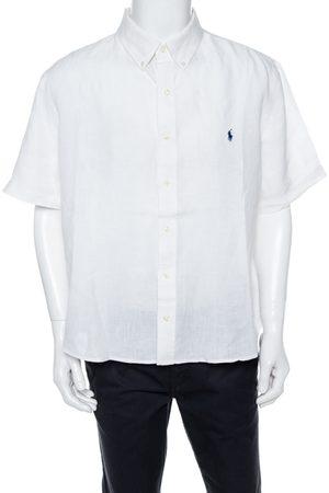 Ralph Lauren White Linen Short Sleeve Slim Fit Shirt XXL
