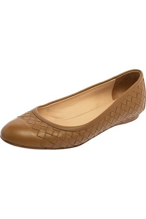 Bottega Veneta Brown Intrecciato Leather Ballet Flats Size 37