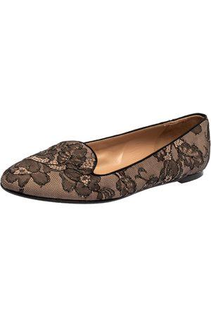 VALENTINO Black Glitter Lace Smoking Slippers Size 38.5