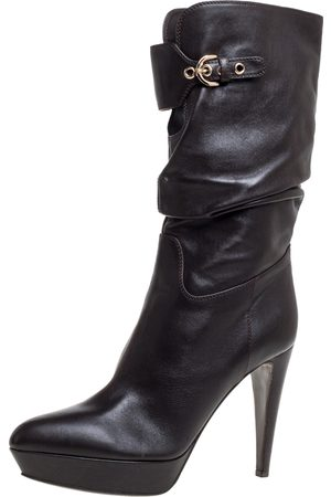 Sergio Rossi Dark Brown Leather Knee Boots Size 39.5