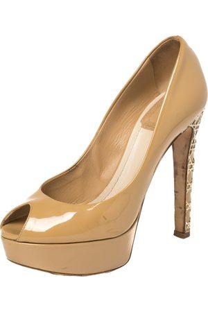 Dior Mustard Patent Leather Metal Cannage Heel Peep Toe Platform Pumps Size 35