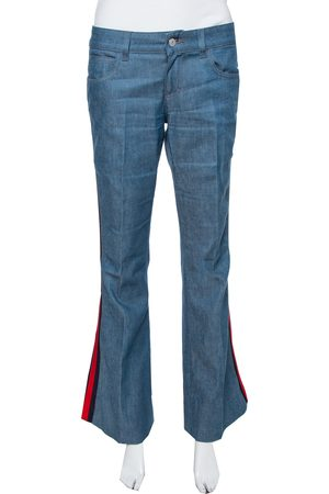 Gucci Indigo Denim Webstripe Detail New Flared Jeans M