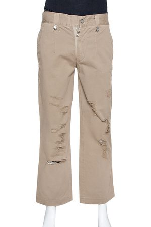 Dolce & Gabbana Light Brown Distressed Cotton Cargo Pants S