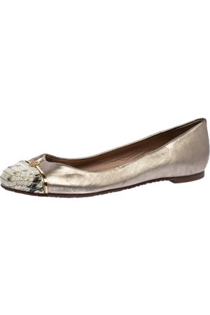 Tory Burch Metallic Gold Leather And Snake Print Cap Toe Bar Logo Ballet Flats Size 37