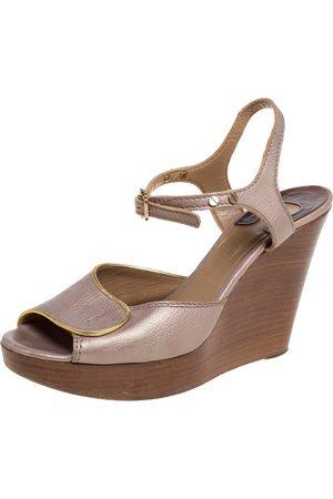 Chloé Metallic Peep Toe Ankle Strap Wooden Wedge Platform Sandals Size 37