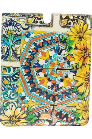 Dolce & Gabbana Multicolor Majolica Print Patent Leather P2 Tablet Case