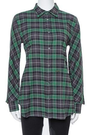 Dsquared2 Green & Grey Cotton Checked Flannel Shirt M