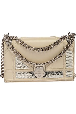Dior Off White Leather and Sequin Mini ama Shoulder Bag