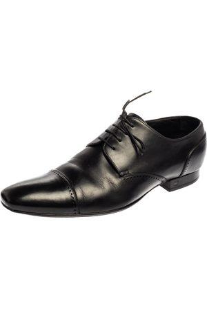 LOUIS VUITTON Black Leather Cap Toe Lace Up Derby Size 42.5