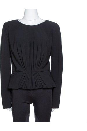 Elie saab Black Wool Crepe Ruched Detail Long Sleeve Top M