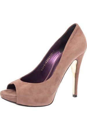 Gina Brown Suede Peep Toe Platform Pumps Size 38