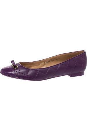 Salvatore Ferragamo Purple Quilted Leather Bow Ballet Flats Size 40.5