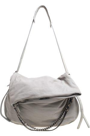 Jimmy Choo Grey Leather Large Biker Saddle Chain Shoulder Bag