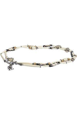 CHANEL CC Beaded Wood Silver Tone Multi Purpose Necklace Waist Belt