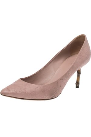 Gucci Nude Pink ssima Leather Kristen Bamboo Heel Pumps Size 39