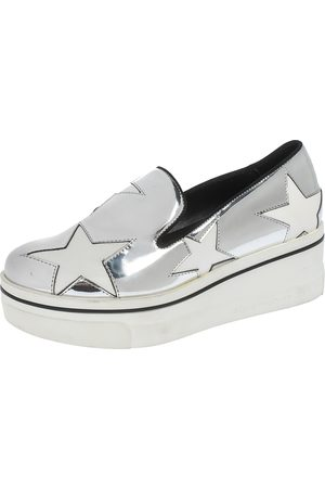 Stella McCartney Metallic Silver White Star Platform Binx Sneakers Size 35