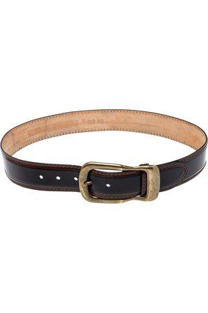 DandG D & G Black/Brown Leather Buckle Belt 85CM
