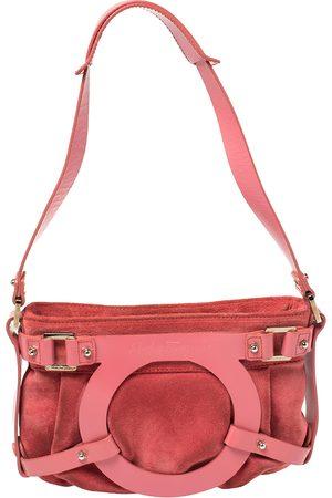 Salvatore Ferragamo Pink Suede And Leather Shoulder Bag
