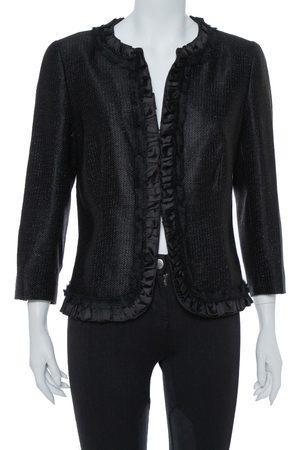 CH Carolina Herrera Black Lurex Cotton Blend Ruffle Detail Jacket L
