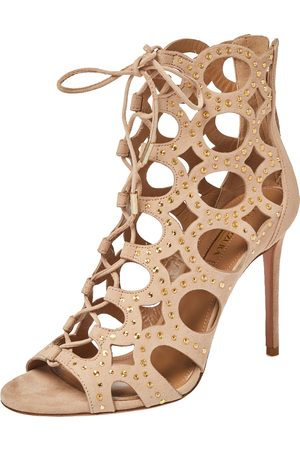 Aquazzura Beige Suede Leather Begum Studded Cut Out Open Toe Ankle Booties Size 37