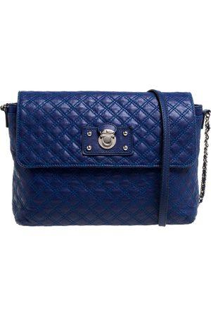 Marc Jacobs Blue Quilted Leather Large Single Flap Shoulder Bag