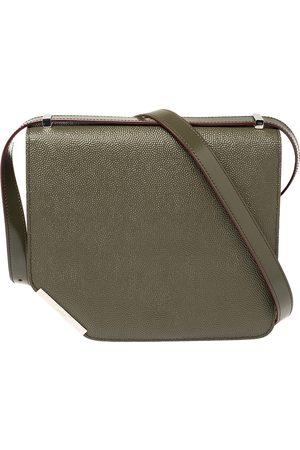Bally Olive Leather Corner Shoulder Bag