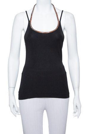 Dolce & Gabbana Black Rib Knit Embellished Detail Tank Top M