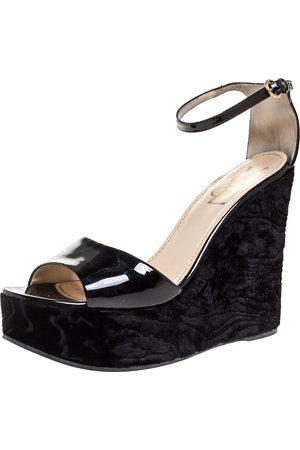 Saint Laurent Black Patent And Embossed Velvet Wedge Platform Sandals 38