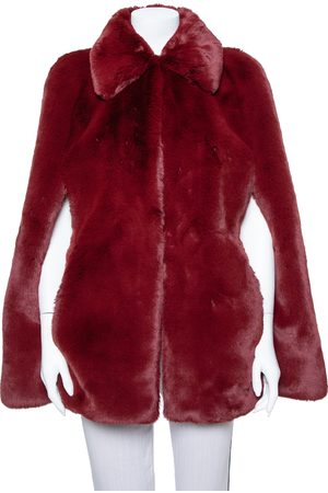 Burberry Burgundy Faux Fur Collared Cape Jacket XS