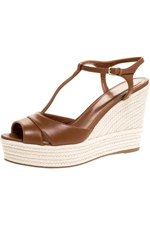 Sergio Rossi Women Wedges - Brown Leather Wedge Espadrille Ankle Strap Sandals Size 39
