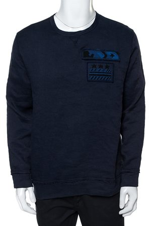 VALENTINO Indigo Blue Cotton Beaded Military Long Sleeve T-Shirt XS