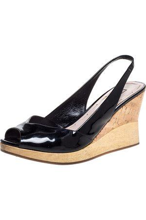 Miu Miu Black Patent Leather Vintage Slingback Wedge Platform Sandals Size 38