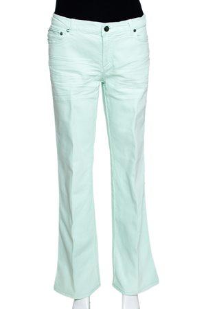 Roberto Cavalli Light Green Denim Straight Leg Jeans L