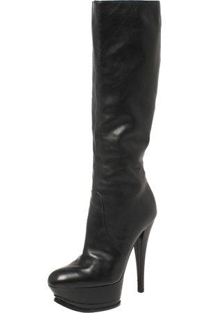 Casadei Black Leather Platform Mid Length Boots Size 37.5