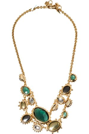 Alexis Bittar Georgian Multicolor Stone Gold Tone Double Strand Necklace