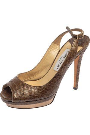 Jimmy Choo Brown Glitter Effect Python Peep Toe Slingback Platform Sandals Size 38