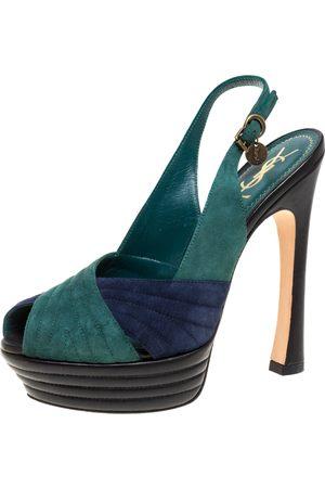 Saint Laurent Green/Blue Suede and Leather Criss Cross Platform Slingback Sandals Size 38