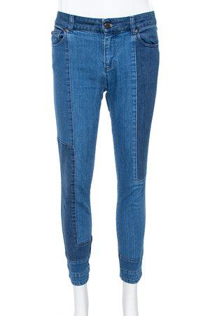 Alexander McQueen Blue Patchwork Denim Cropped Skinny Jeans M