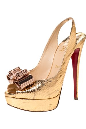 Christian Louboutin Metallic Gold Python Embossed Leather Lady Clou Platform Slingback Sandals Size 39